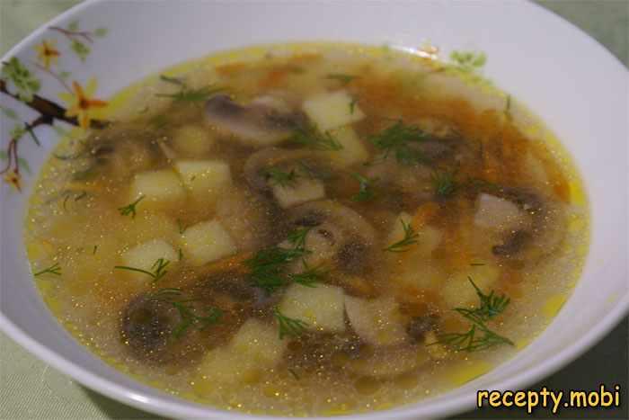 грибной суп из свежих шампиньонов